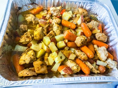 hygienic and healthy food (Diced chicken, potatoes, peppers and onions)